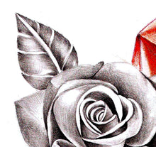 Load image into Gallery viewer, Realistic rose with sexy precious stone tattoo design high resolution download