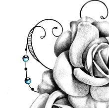 Load image into Gallery viewer, Two realistic roses and precious stone tattoo design high resolution download
