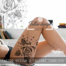 Load image into Gallery viewer, Realistic rose with pearls  tattoo design high resolution download