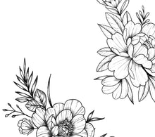 Load image into Gallery viewer, 5 x peony linework sideboob tattoo design high resolution download