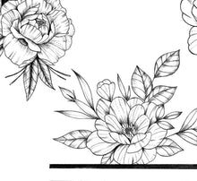 Load image into Gallery viewer, 5 x Peony linework sideboob - tattoo design download