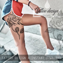 Load image into Gallery viewer, 5 x sexy realistic roses with precious stone  tattoo design high resolution download