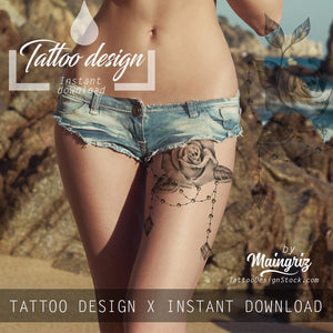 5 x sexy realistic roses with precious stone  tattoo design high resolution download