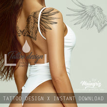 Load image into Gallery viewer, Realistic wing sexy - download tattoo design