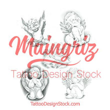 Load image into Gallery viewer, cherub tattoo design high resolution download by tattoodesignstock.com