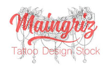 Load image into Gallery viewer, feather pearl and lace garter tattoo design
