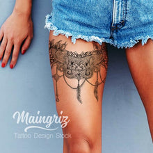 Load image into Gallery viewer, feather and pearl lace garter tattoo design