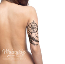 Load image into Gallery viewer,  Dreamcatcher with feathers and pearl tattoo design digital donwload