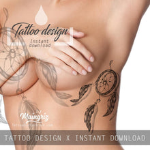 Load image into Gallery viewer, Dreamcatcher realistic tattoo design high resolution download