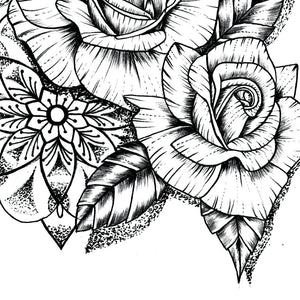 Sexy roses line work tattoo for woman