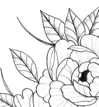 Load image into Gallery viewer, Sexy peony linework half sleeve tattoo design high resolution download