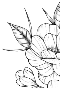 Half sleeve peony linework tattoo design high resolution download