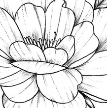 Load image into Gallery viewer, Half sleeve peony linework tattoo design high resolution download