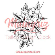 Load image into Gallery viewer, Half sleeve peony linework sexy tattoo design high resolution download