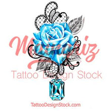 Load image into Gallery viewer, Indigo stone with realistic rose tattoo design high resolution download