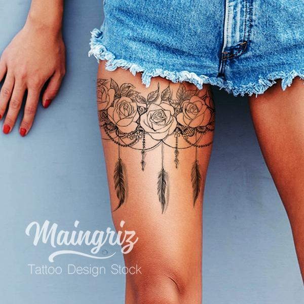 lace garter with rose and feathers tattoo design