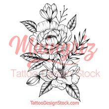 Load image into Gallery viewer, Linework peony half sleeve high resolution download
