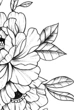 Load image into Gallery viewer, Linework peony tattoo design high resolution download