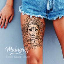 Load image into Gallery viewer, Lion flowers line work tattoo design high resolution download