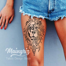 Load image into Gallery viewer, Lion ornemental tattoo design references