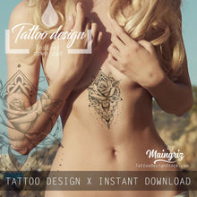 Load image into Gallery viewer, amazing rose mandala underboob tattoo for woman