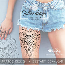 Load image into Gallery viewer, 5 mandala roses tattoo design download high resolution download