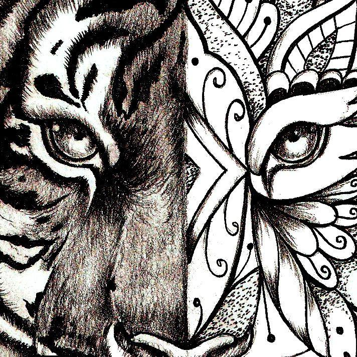 Mandala Tiger tattoo design references created by tattoo artist