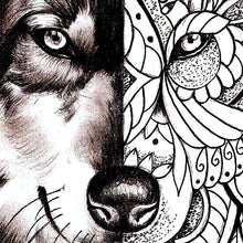Load image into Gallery viewer, Mandala wolf tattoo design references created by tattoo artist