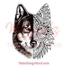 Load image into Gallery viewer, Mandala Wolf - tattoo design download #2