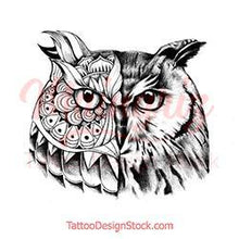 Load image into Gallery viewer, Owl mandala tattoo design high resolution download