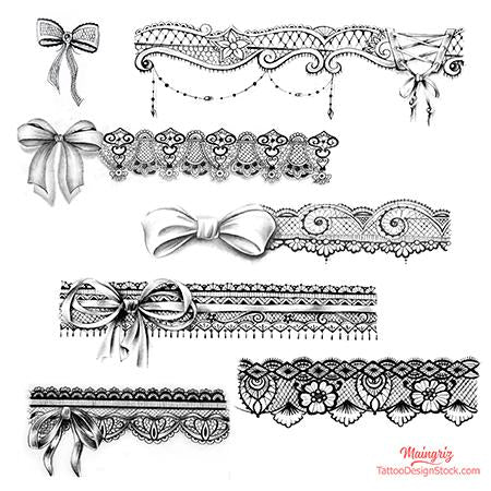 lace garter with node tattoo design
