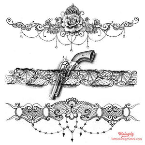 lace garter with gun and rose tattoo design