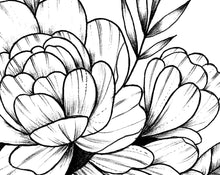 Load image into Gallery viewer, Peony linework half sleeve high resolution download