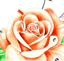 Load image into Gallery viewer, Precious stone with realistic rose tattoo design high resolution download