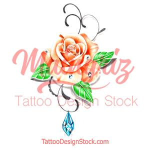 Precious stone with realistic rose tattoo design high resolution download
