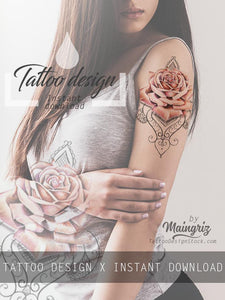 Realistic rose lace tattoo design high resolution download