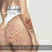 Load image into Gallery viewer, Realistic rose lace tattoo design high resolution download