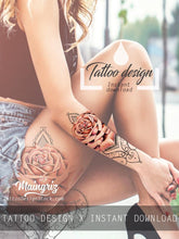 Load image into Gallery viewer, sexy oriental mandalas roses half sleeve sexy girls tattoo ideas