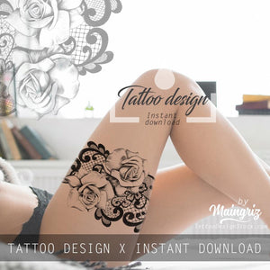 Realistic rose with lace - download tattoo design #5