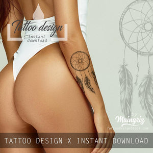 Realistic dreamcatcher sexy tattoo design high resolution download