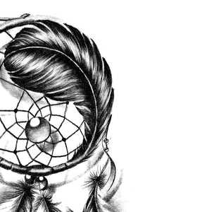 Realistic dreamcatcher with feather  tattoo design high resolution download
