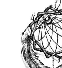 Load image into Gallery viewer, Realistic dreamcatcher with pearls and lace tattoo design high resolution download