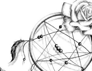 Realistic dreamcatcher with rose - download tattoo design