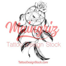 Load image into Gallery viewer, Realistic dreamcatcher with rose  tattoo design high resolution download