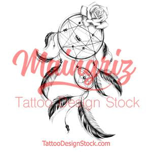 Realistic dreamcatcher with rose  tattoo design high resolution download