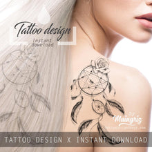 Load image into Gallery viewer, Realistic dreamcatcher with rose - download tattoo design