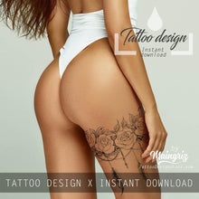 Load image into Gallery viewer, amazing sexy lacer garte with roses and feathers tattoos for girls in instant download