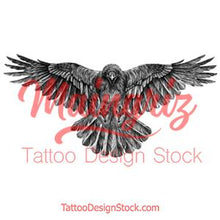 Load image into Gallery viewer, Realistic raven tattoo design high resolution download
