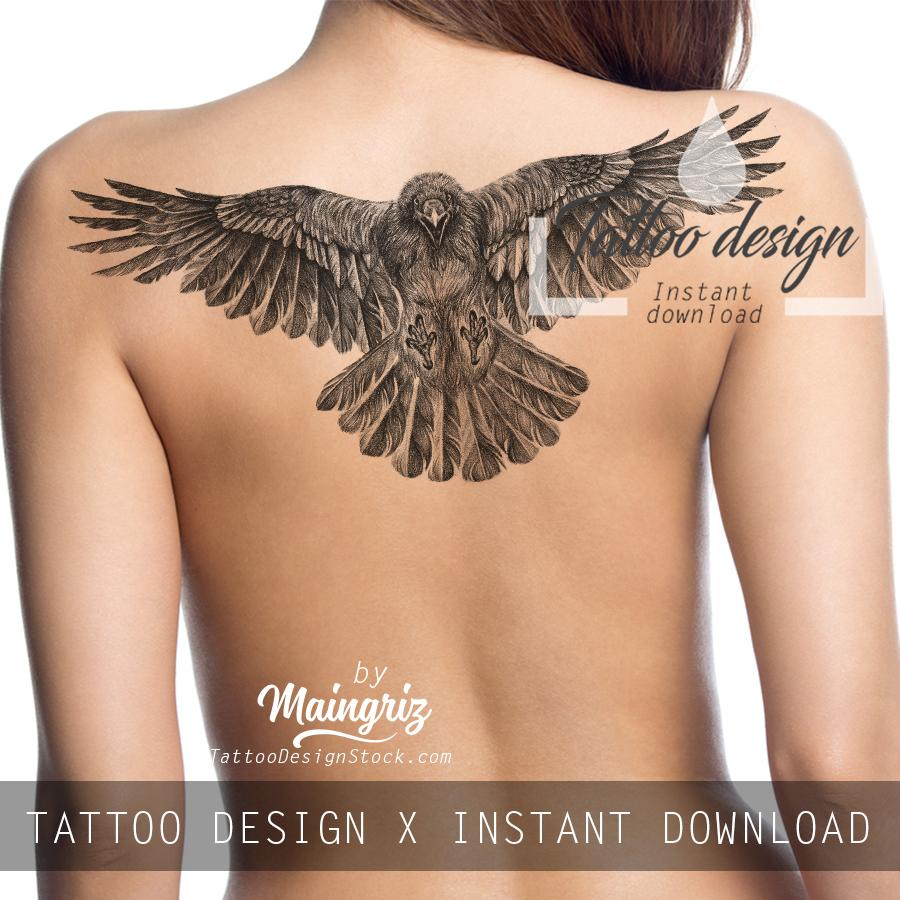 Realistic phoenix- tattoo design download