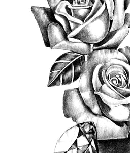 Realistic rose with diamond  tattoo design high resolution download